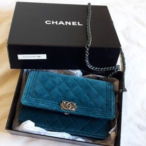 CHANEL Bags - Chanel velvet quilted boy wallet